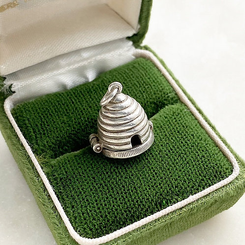 Vintage sterling silver opening beehive charm with bee