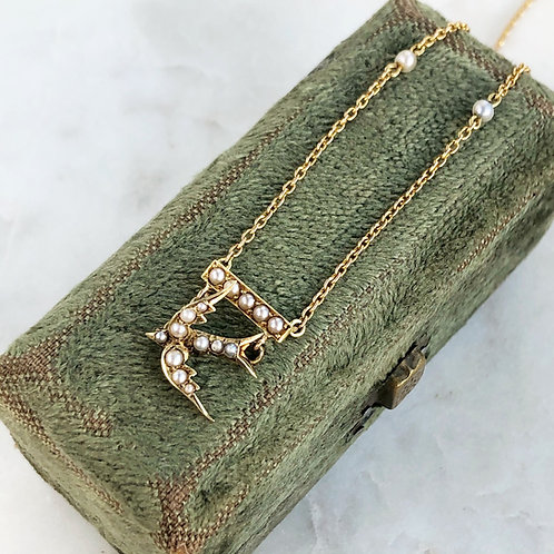 Antique Victorian 15ct gold and pearl swallow necklace
