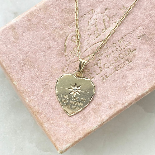 Vintage 9ct gold and diamond love heart pendant with gold plated silver chain
