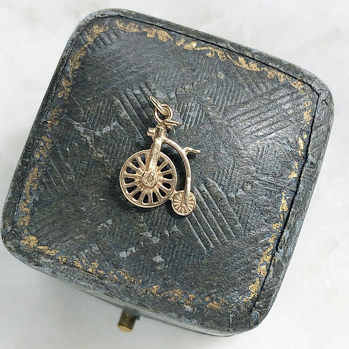 Vintage 9ct gold penny farthing charm