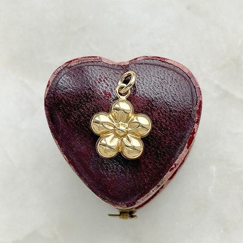 Vintage 9ct gold flower charm