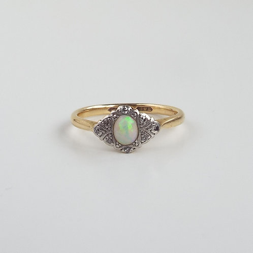 Antique platinum and gold, diamond and opal ring