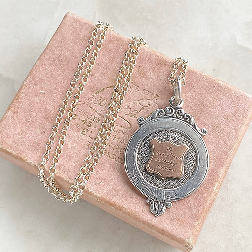 Vintage engraved silver and rose gold fob with chain - Charlotte Brontë