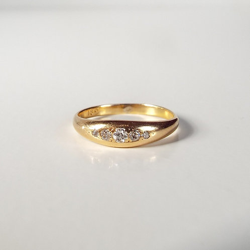 Antique 18ct gold five stone diamond gypsy ring