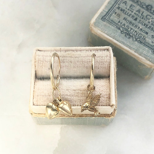 Vintage gold bird and two hearts charm hoops