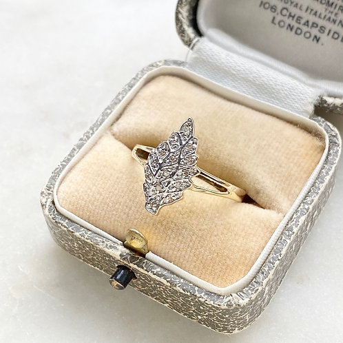 Diamond, 9ct yellow and white gold leaf ring