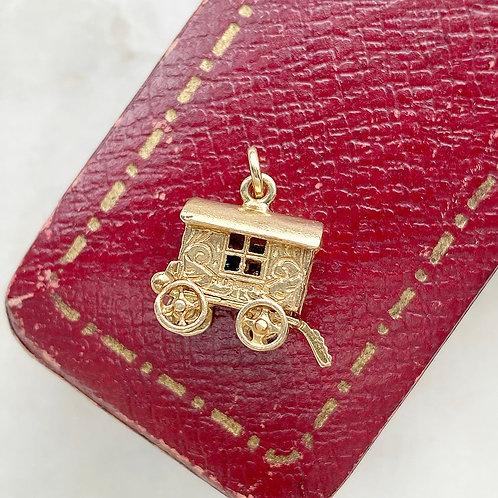 Vintage 1970 9ct gold and enamel opening fortune teller caravan charm
