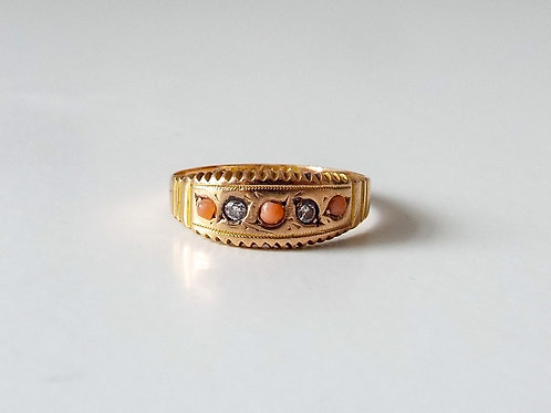 Antique Victorian 15ct gold coral and diamond ring
