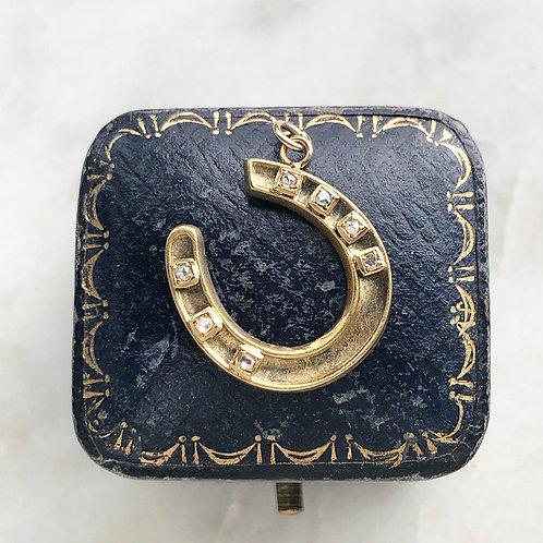 Antique gold and diamond horseshoe charm