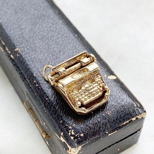 Vintage 1963 heavy 9ct gold typewriter charm