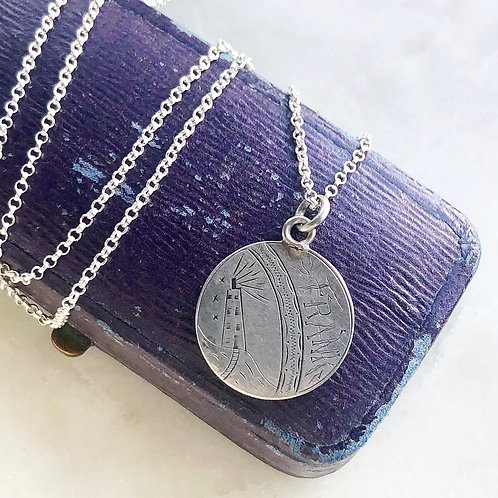 Antique lighthouse and 'Frank' / 'Cousin' silver love token and chain