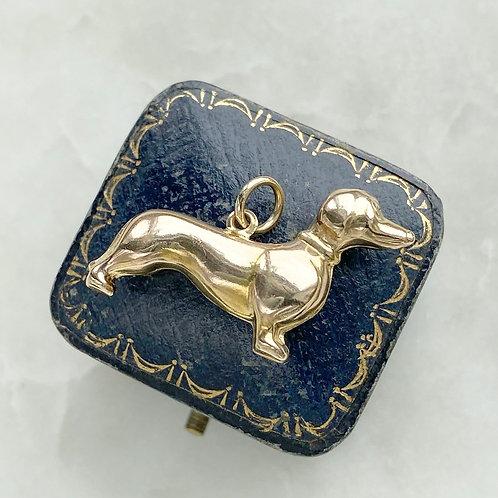 Vintage 1970 9ct gold large dachshund dog charm