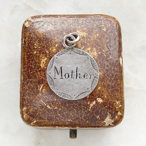 Antique, Victorian silver Mother/1891 hand engraved love token pendant