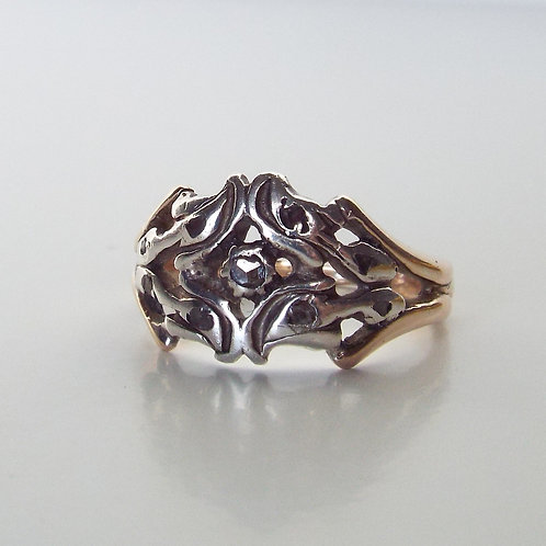 Antique diamond, silver and gold ring