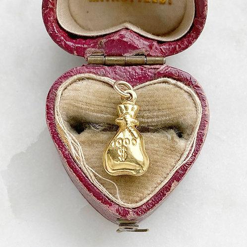 Vintage 9ct gold money bag/sack charm