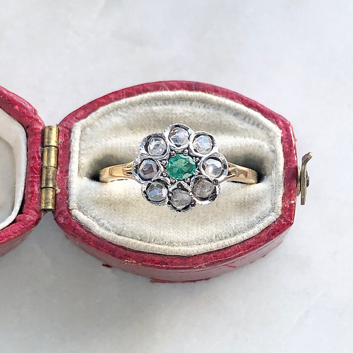 Antique 18ct gold rose cut diamond and emerald flower ring