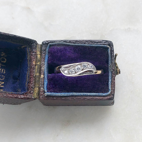 Vintage 9ct yellow and white gold, five stone diamond wave ring