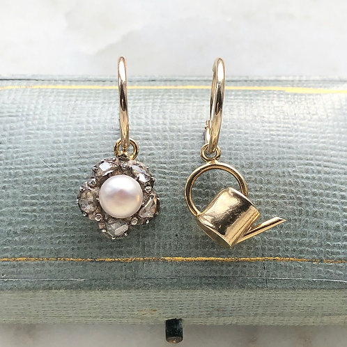 Antique diamond and pearl flower and vintage gold watering can charm hoops