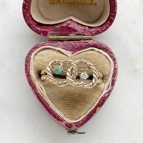 Vintage 1979 9ct gold, emerald and diamond double heart rope ring