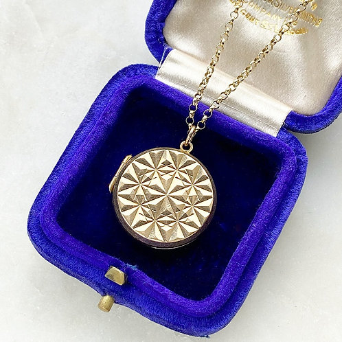 Vintage 9ct gold front and back star locket