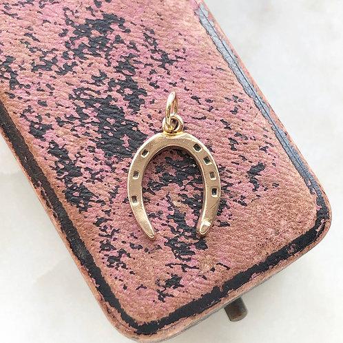 Vintage 9ct gold horseshoe good luck charm