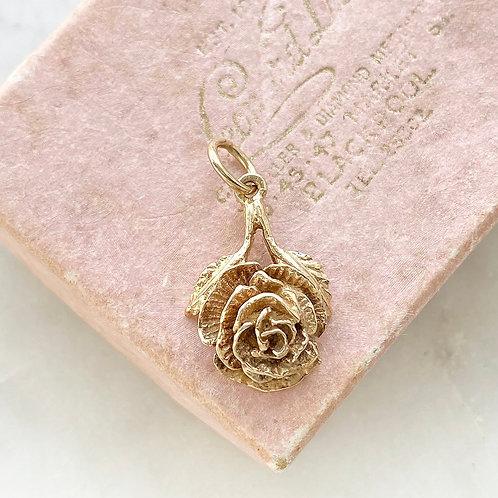 Vintage 1979 9ct gold rose charm