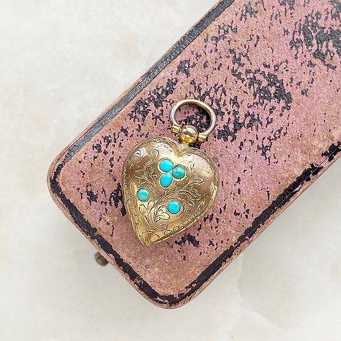 Antique Victorian turquoise flower and heart locket