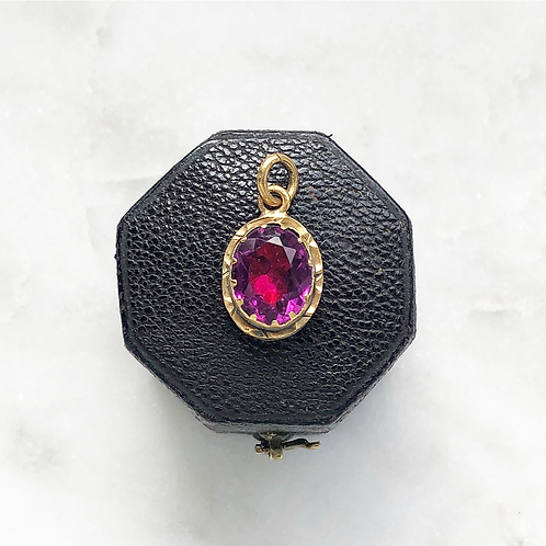Vintage glass and rolled gold charm
