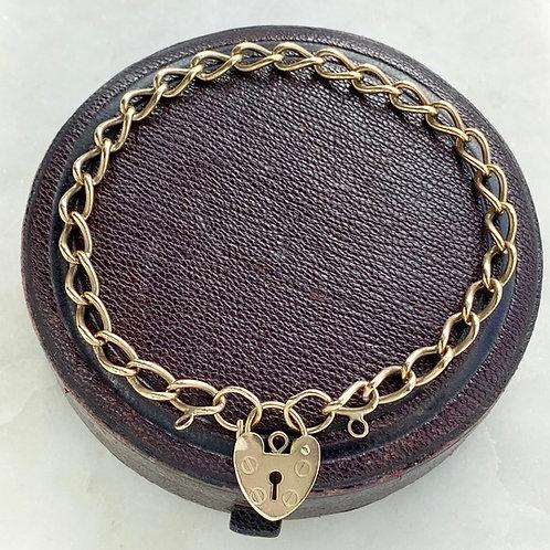 Vintage, 1989, 9ct gold, padlock bracelet
