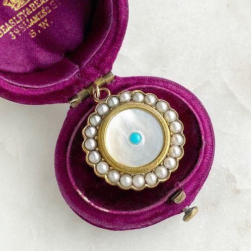 Antique mother of pearl, seed pearl and turquoise flower locket