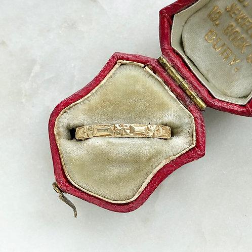 Vintage 1950 18ct gold orange blossom patterned ring band