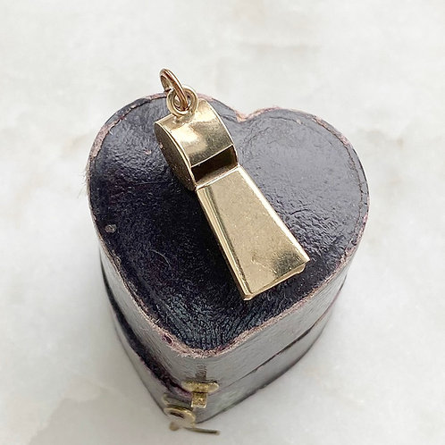 Vintage 9ct gold working whistle charm