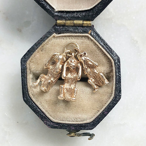 Vintage 9ct gold three wise monkeys charm