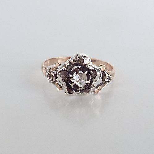 Antique rose cut diamond, gold and silver flower ring