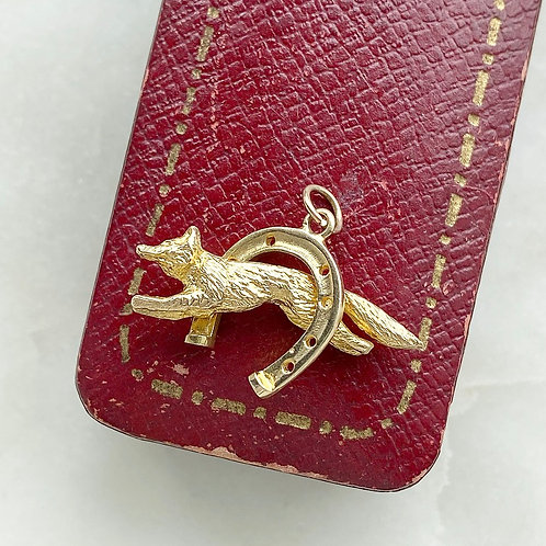 Vintage 1970s 9ct gold fox and horseshoe charm