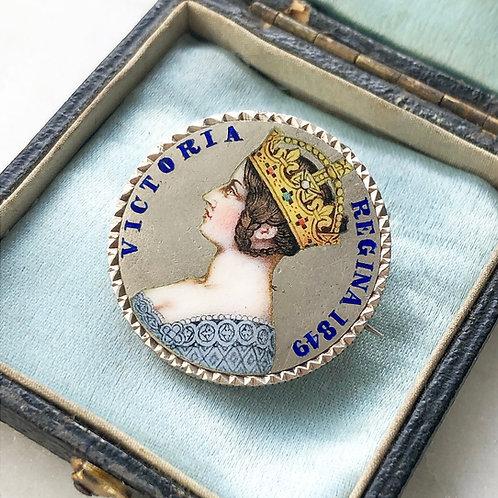 Antique Victorian silver and enamel florin coin brooch/pendant