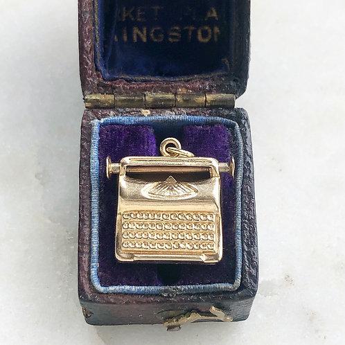Vintage 9ct gold typewriter charm