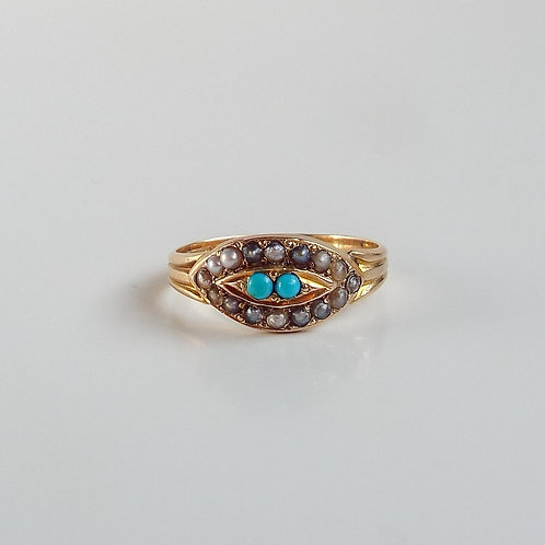 Antique 10ct gold turquoise and seed pearl evil eye ring