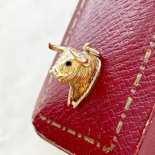 Vintage 9ct gold bull/ox charm