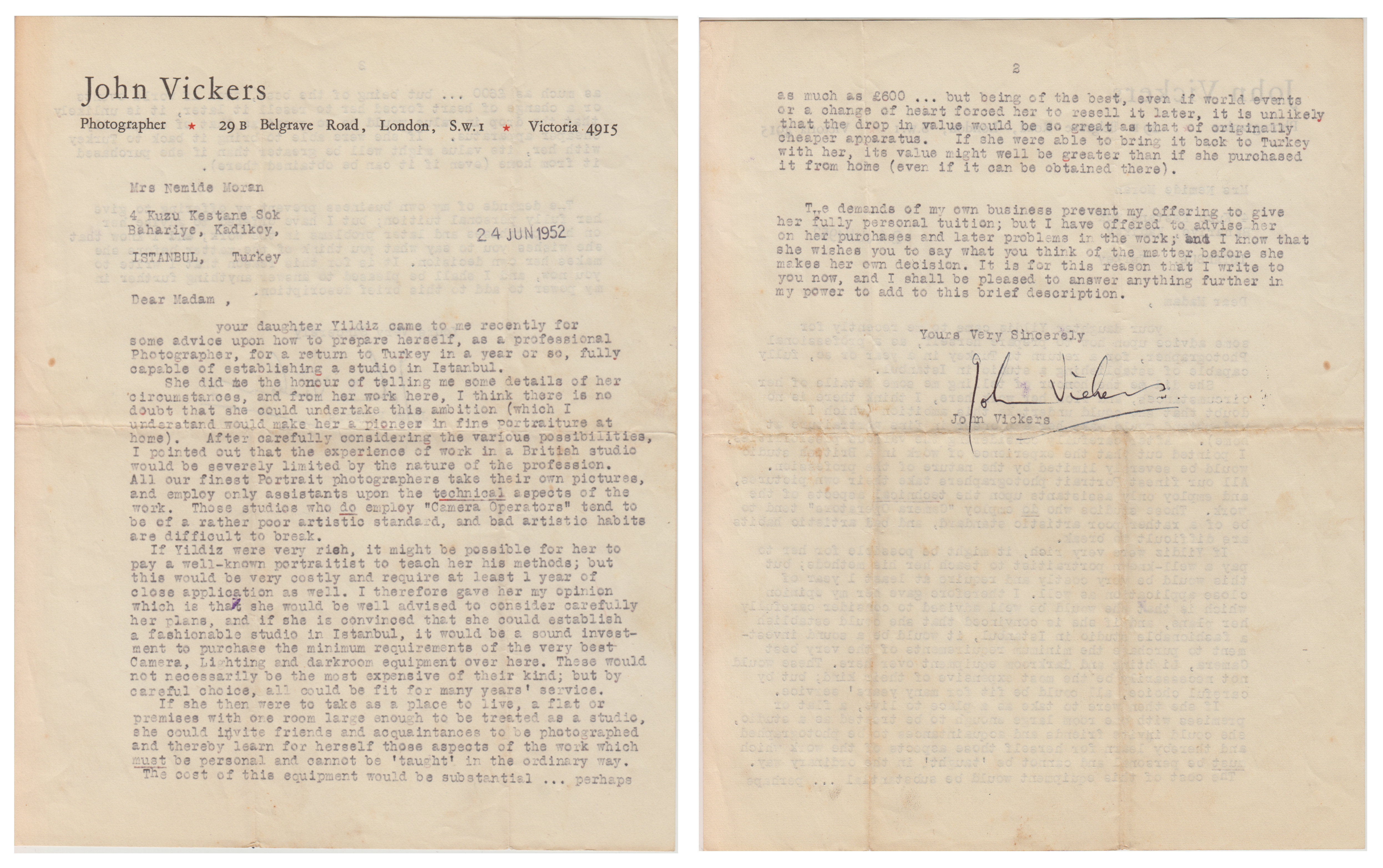 John Vickers' Reference Letter, 1954