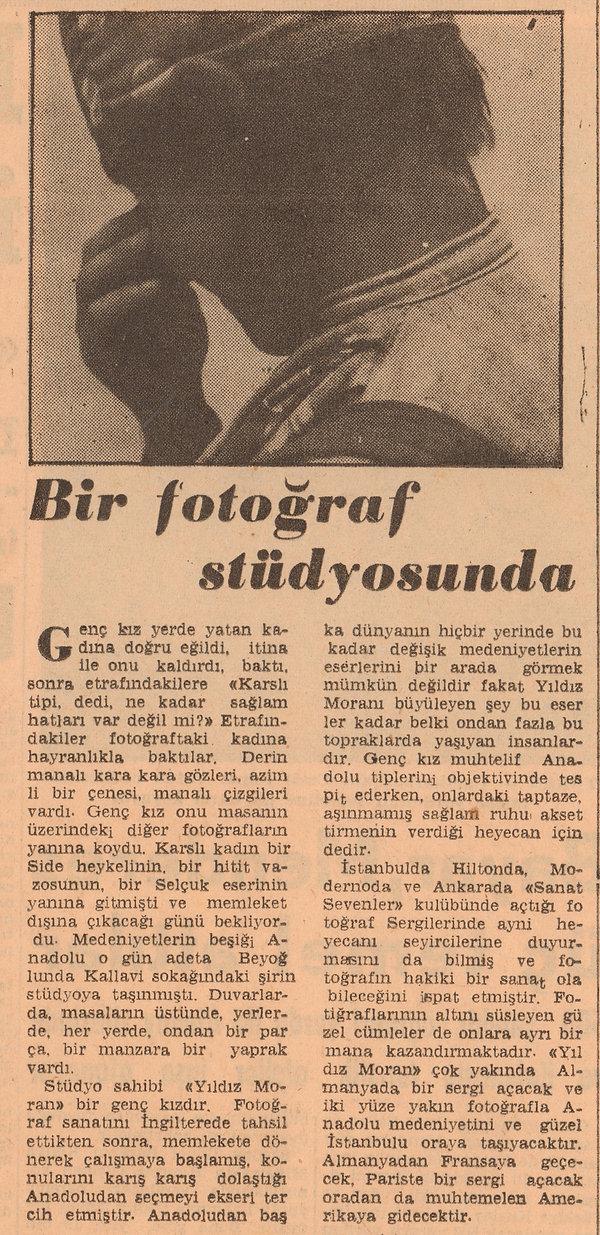 Jale Candan  Dünya Gazetesi 3 Ocak 1959