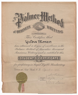 Palmer Metod Certificate, 1946