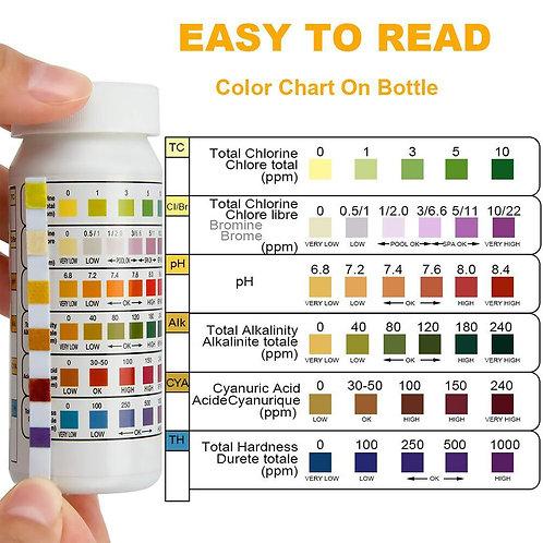 6-In-1 Swim Pool PH, Chlorine, Residual PH Value Alkalinity Hardness Test Strip