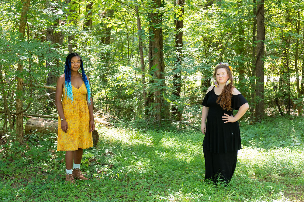 Rian L. Moses and Virginia Murphy pose for a wooded portrait.