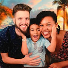 hedrick family tropical background mom dad son biracial interacial