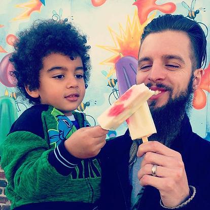 Jai Elijah Hedrick eating popsicle beecycle