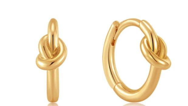 Gold Knot Huggie Hoop Earring Ania Haie