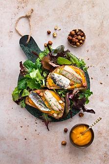 Bruschettas de filets de sardines & pure