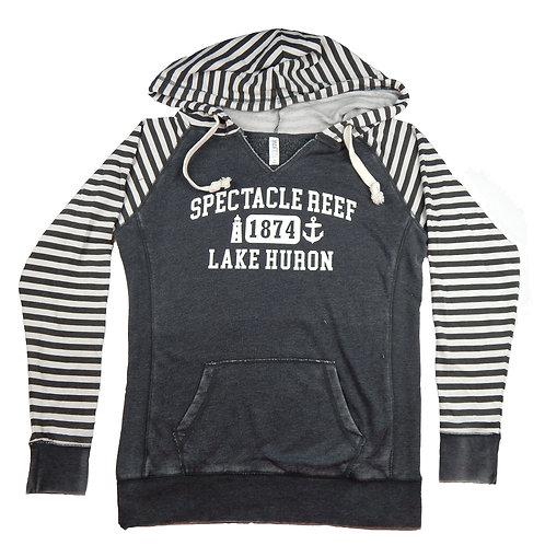 Spectacle Reef Striped Ladies Pullover Hoodie