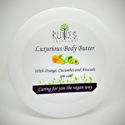 Luxurious body butter with avocado, orange and cucumber